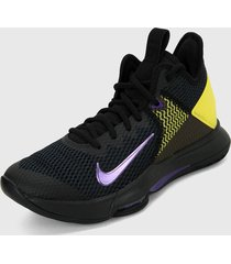 tenis basketball negro-amarillo-morado nike lebron witness 4