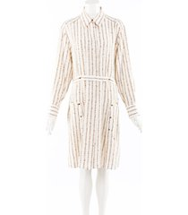 chloe chain print silk shirt dress cream/gold sz: m