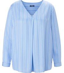 blouse lange mouwen en lengtestrepen van frapp blauw