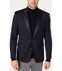 ryan seacrest distinction men's modern-fit navy grid pattern dinner jacket, created for macy's