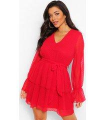 dobby mesh skater jurk met v-hals en laagjes, rood