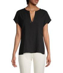 vince women's seamed popover blouse - black - size m