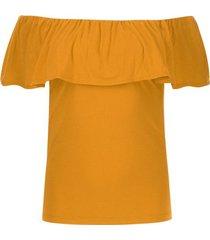 camiseta unicolor cuello bandeja color amarillo, talla 10