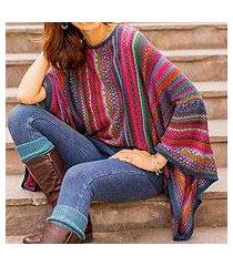 striped kimono sleeve sweater, 'fiesta dance' (peru)