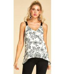 yoins estampado floral aleatorio escalonado diseño camiseta con cuello en v
