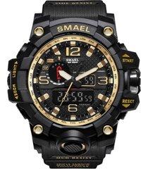 reloj militar hombre led deportivo smael 1545 negro dorado
