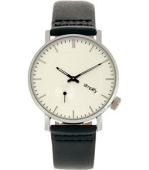 simplify quartz the 3600 silver case, genuine navy leather watch 40mm