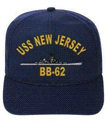 uss new jersey bb-62 embroidered ship cap