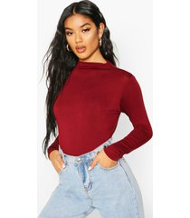 basic funnel neck long sleeve crop top, berry