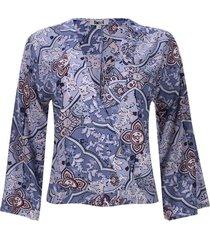blusa cruzada de amarrar color azul, talla 14