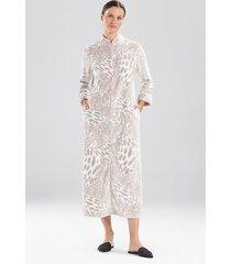 natori plush leopard zip lounger sleep/lounge/bath wrap/robe, women's, silver, size m natori