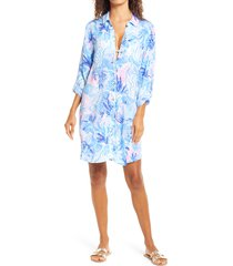 women's lilly pulitzer natalie cover-up shirt dress, size medium - blue