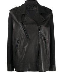 federica tosi loose-fit biker jacket - black