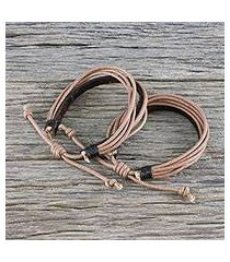 men's leather and cotton cord bracelets, 'bold espresso contrast' (pair) (thailand)