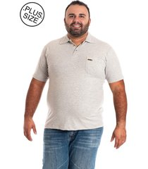 camisa polo konciny plus size bege
