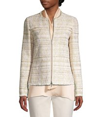 lafayette 148 new york women's dash artful tweed jacket - gesso - size 12