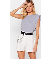 womens pleat it up high-waisted tailored shorts - ecru