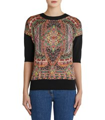 women's etro oakland floral paisley silk front wool sweater, size 4 us - black