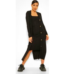 geribbelde midi jurk en duster jas set, black