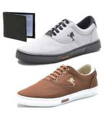 tênis sapatenis sapato conforto polo joy kit 2 pares e carteira marrom/cinza