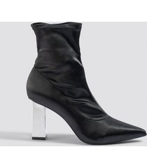 na-kd shoes metallic block heel sock boots - black