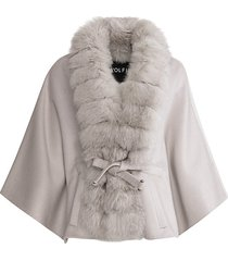 made for generation fox fur-trim cashmere & wool cape