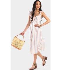 amelle stripe ruffle dress - ivory