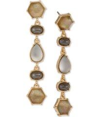 laundry by shelli segal gold-tone multi-stone linear drop earrings