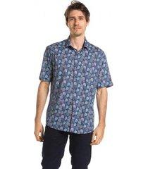 camisa true you brasil manga curta summer leaves gulf blue masculina - masculino
