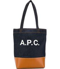 a.p.c. logo print denim tote - blue