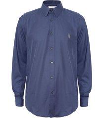 camisa us polo assn azul - calce regular