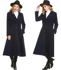 cool women lady solid single breasted extra long trench coat outerwear overcoat
