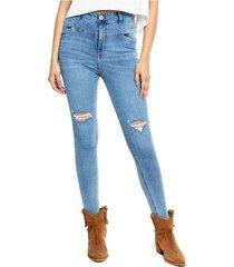 high waist skinny jeans tono medio con rotos color blue