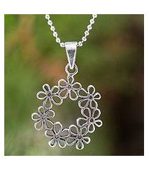 sterling silver flower necklace, 'floral tiara' (thailand)