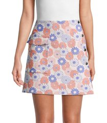 kenzo women's floral print a-line skirt - faded pink - size 38 (6)