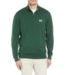 cutter & buck green bay packers - lakemont regular fit quarter zip sweater, size xx-large in hunter green at nordstrom