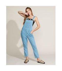macacão jeans feminino cropped relaxed com bolsos azul claro