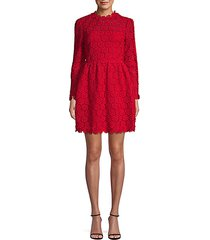 embroidered cotton blend a-line dress