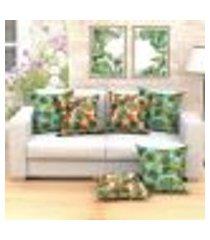 conjunto de almofada com 6 peças tropical azul e verde 60x60 cm