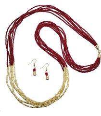 collar mostacilla roja y canutillo