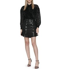 walter baker women's aurea ruffled leather skirt - black - size 2