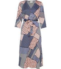 kaselina dress 3/4 sl knälång klänning multi/mönstrad kaffe
