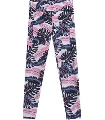 leggings sport flores azules color rosado, talla l