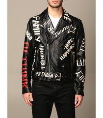 golden goose jacket golden goose leather biker jacket with all over logo