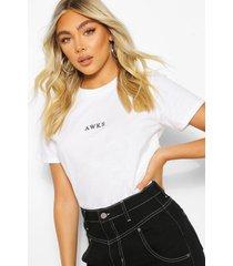 awks micro print slogan t-shirt, white