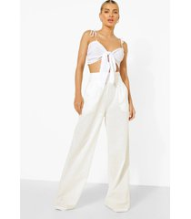 linnen look wide leg broek met grote taille band, white