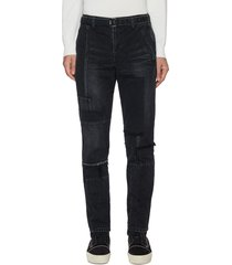 belted patchwork jeans