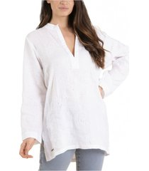 blusa lino orgánico debora blanco rockford