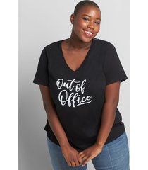 lane bryant women's out of office graphic tee 38/40 black