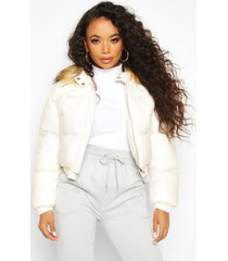 petite cropped padded jacket, pear